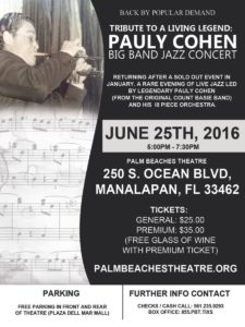 Pauly Cohen Tribute - Big Band Jazz Concert @ Palm Beaches Theater | Manalapan | Florida | United States