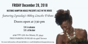Zynzelay's Abbey Lincoln Tribute @ Historic Hampton House | Miami | Florida | United States